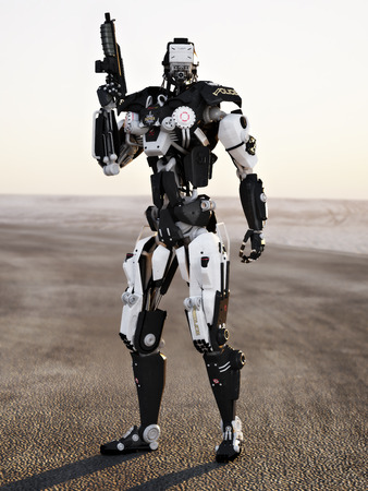 Futuristic Police armored mech weapon with background photo