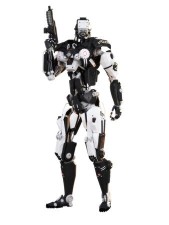 robot: Futurystyczny robota policyjna broń pancerna mech na białym tle z wycinek ścieżki