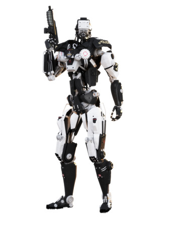 robot: Robot polic�a futurista arma mech armado sobre un fondo blanco con trazado de recorte