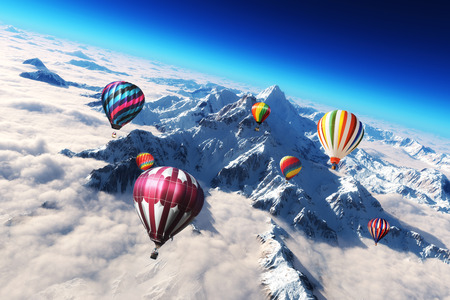 다채로운 뜨거운 공기 풍선의 장엄한 눈 caped 산 풍경 위에 급증