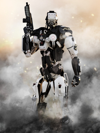 Robot Futuristic Police armored mech weapon with action background photo