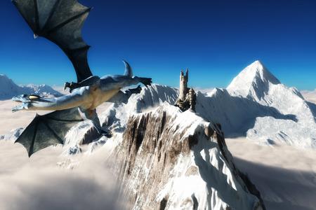 drago alato: Draghi torre, drago alato sorvolano montagne maestose con una torre in lontananza