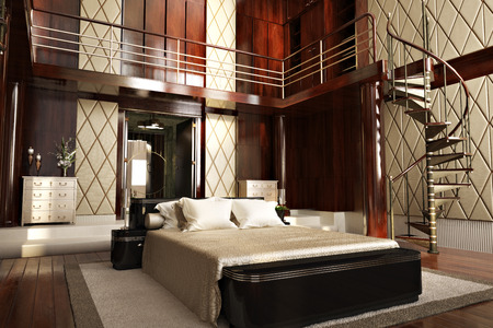 luxury bedroom: Luxury interior of an elegant bedroom Stock Photo