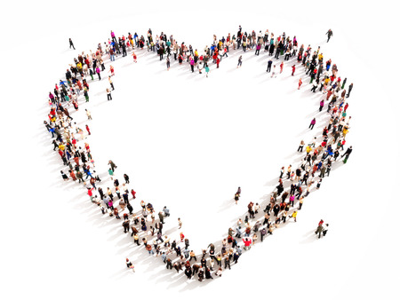Large group of people in the shape of a heart  High angle view on a white background photo