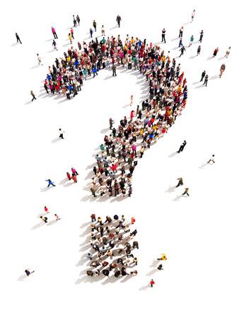 люди: Большая группа людей с вопросами, думая концепция, или поиск ответов на белый Фото со стока