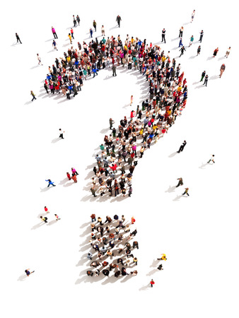 answer: Large group of people with questions,  thinking concept, or quest for answers on a white