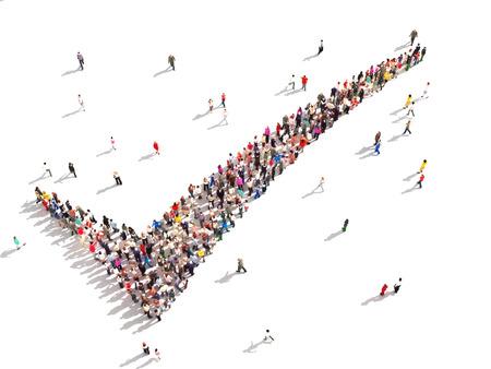 白い背景の上のチェック マークの形で人々 の大きいグループは同意する 3 D の人々
