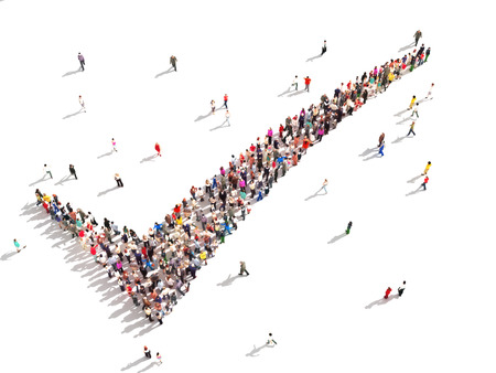 3D People that agree Large group of people in the shape of a check mark on a white background