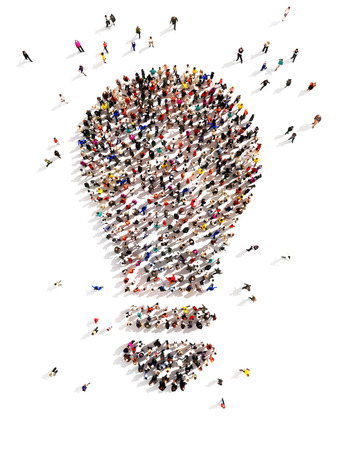 menschenmenge: 3D Gro�e Gruppe von Menschen mit Ideen und ein paar Umzug in die Licht F�hrende der Packung, Einfallsreichtum, die Initiative zu ergreifen, stehend aus der Masse-Konzept