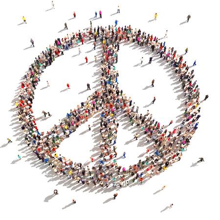 3D Mensen van de vrede Honderden mensen die de vrede steunen op een witte achtergrond Stockfoto