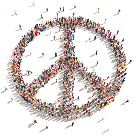 symbol peace: Personas en 3D de la paz Cientos de personas que apoyan la paz sobre un fondo blanco