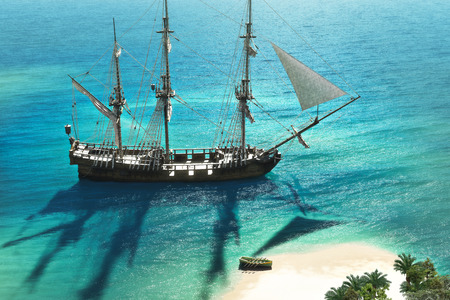 Exploration, 3D A pirate or merchant ship anchored next to an island with the crew going ashore  Stock Photo