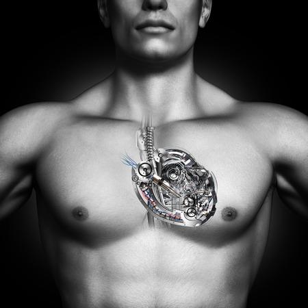 Mechanical heart  Built like a machine, healthy human heart concept photo