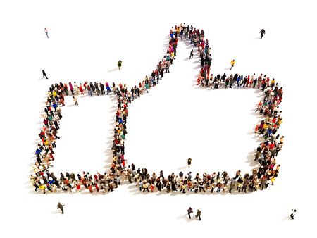 like button: People that like  Large group of people in the shape of a thumbs up  Room for text or copy space