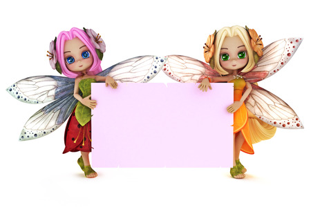 Two cute Fairy s holding a blank pink advertisement card on a white background with room for text or copy space  Stock Photo