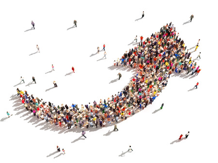 Mensen met een richting Grote groep mensen in de vorm van een pijl naar boven wijst symboliseren richting, vooruitgang of groei