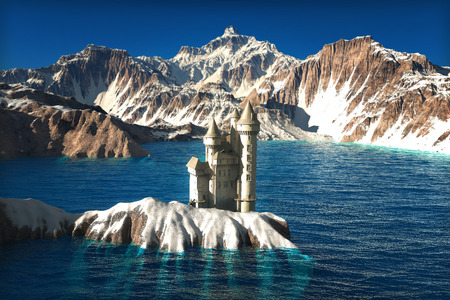 Medieval castle in the center of a lake with a majestic snow covered mountain background