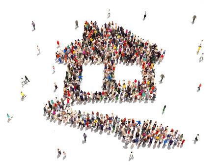 Menschen kaufen Immobilien Große Gruppe von Menschen in der Form eines Hauses symbolisiert Menschen auf der Suche nach Wohnungen oder kaufen, mieten oder den Bau von Häusern in einem erfolgreichen Markt auf einem weißen Hintergrund