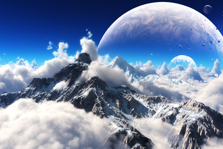 future space: Celestial view of snow capped mountains and an alien planet  Stock Photo