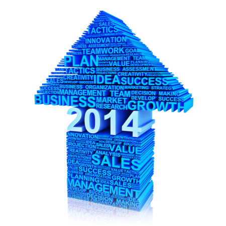 Business plan for improvement in 2014   Text words of business characteristics in the form of an arrow pointing up   photo