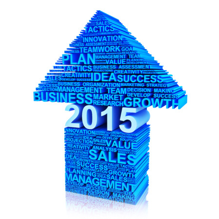 characteristics: Business plan for improvement in 2015  Text words of business characteristics in the form of an arrow pointing up   Stock Photo