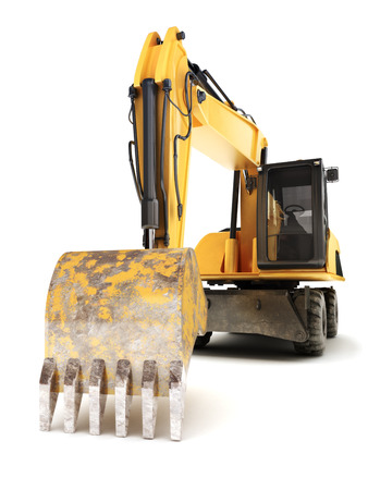 earth mover: Hydraulic excavator on a white background