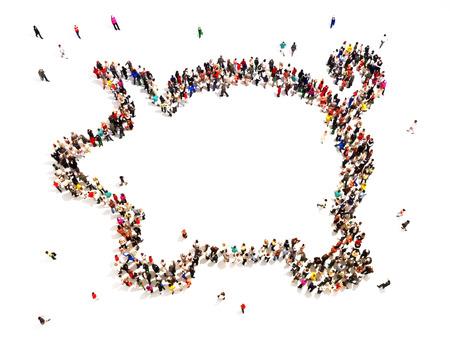 Menschen, die zu speichern oder zu investieren Große Gruppe von Menschen in der Form von einem Sparschwein auf einem weißen Boden zurück mit Platz für Text oder Kopie Raum gefallen Standard-Bild