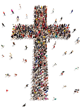 christian symbol: People finding Christianity, religion and faith Large group of people walking to and forming the shape of a cross on a white background