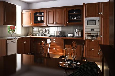 木材のアクセントを持つ伝統的なキッチン インテリア デザイン 写真素材