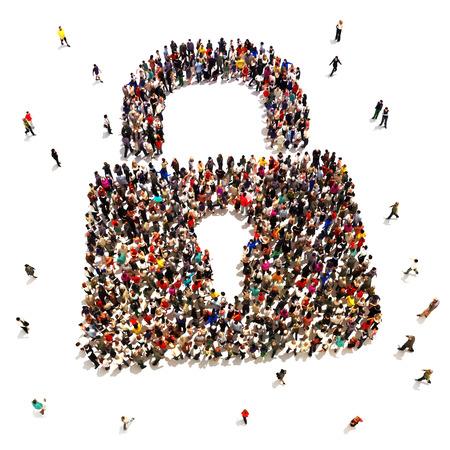 защита: Большая группа людей, которые ищут защиты безопасности, интернет, кражи личных данных, концепция домой защиты