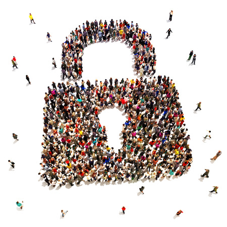 Gran grupo de personas que buscan la protección de seguridad, internet, robo de identidad, el concepto de protección del hogar