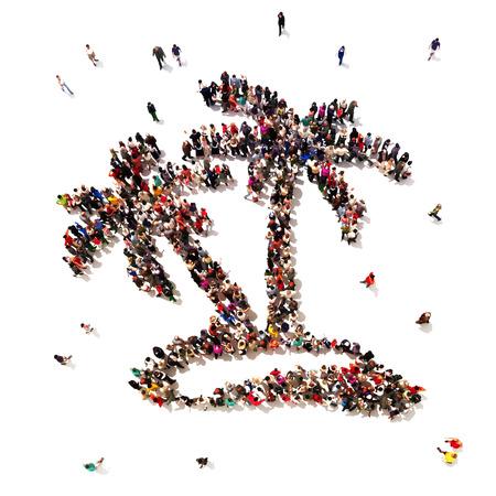 Mensen die op vakantie zijn of gaan op vakantie Grote groep mensen in het symbool vorm van palmboom s op een witte achtergrond