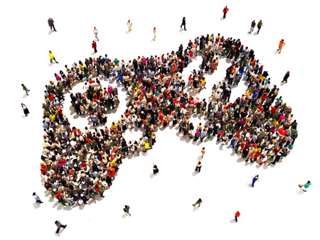 People who are gamers  Large group of people in the symbol shape of a gaming controller on a   white background   Stock Photo