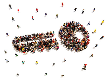 Key to success. Large group of people in the shape of a key, symbolizing success of people in business or other ventures on a white background.