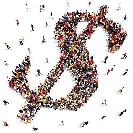 люди: Люди, нашедшие финансовый успех или экономить деньги концепции. Большая группа людей, образующих символ знака доллара на белом фоне.