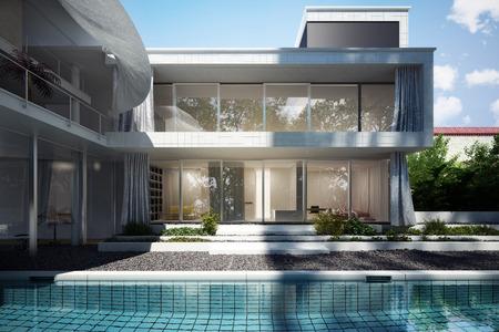 Moderne Haus mit offenen Grunddesign und Vorhänge weht im Wind mit einem Blick auf den Pool. Lizenzfreie Bilder