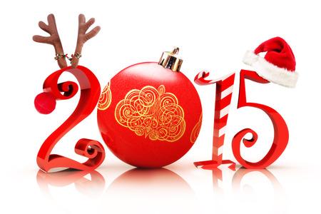 Weihnachten 2015, Illustration präsentiert 2015 Text mit einem Rentier, Baumschmuck, Zuckerstange und einer Weihnachtsmannmütze auf weißem Hintergrund.