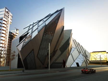 Futuristische stad blok. Verzameling van moderne abstracte gebouwen en aangepaste voertuig. Stockfoto