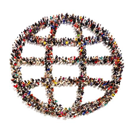 Menschen auf der ganzen Welt. Große Gruppe von Menschen in Form einer abstrakten Welt auf einem weißen Hintergrund.