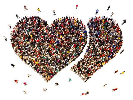 gestalten: Leute Dating und Liebe zu finden. Große Menschenmenge in der Form von Herzen.