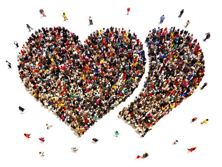 friend: People dating and finding love. Large crowd of people in the shape of hearts.