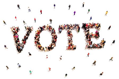 Menschen, dass Stimme. Große Gruppe von Menschen zu Fuß auf und bilden die Form des Wortes Text Abstimmung über einen weißen Hintergrund. Standard-Bild