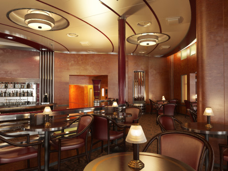 upscale: Classy upscale restaurant interior with bar.