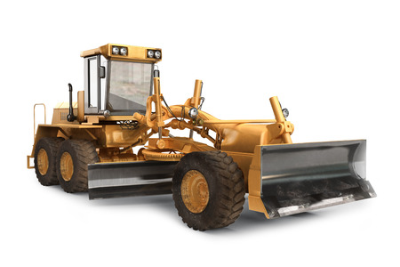 construction machinery: Generic construction road grader construction machinery equipment positioned on a white   background Stock Photo