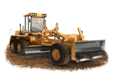 grader: Generic construction road grader construction machinery equipment positioned on dirt with a   white background Stock Photo