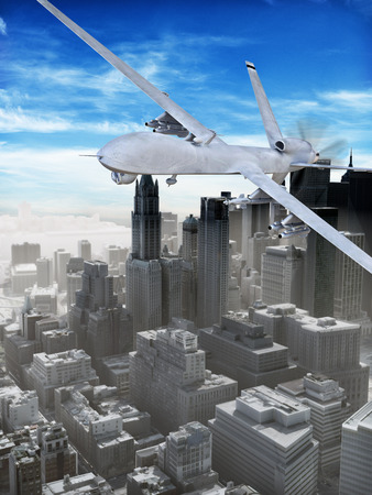 big brother spy: Armed surveillance UAV drone flying over a city .