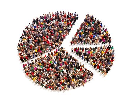 menschenmenge: Die Menschen in der Form eines Kreisdiagramm auf wei�em Hintergrund.