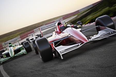 leader: Coche de carreras rojo cerca vista frontal en una pista a la cabeza con el desenfoque de movimiento. 3d de alta resoluci�n. Espacio para texto o espacio de la copia Foto de archivo