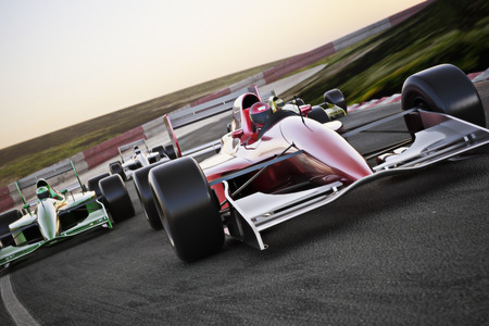 Red race car close up front view on a track leading the pack with motion Blur. High resolution 3d   render. Room for text or copy space Banco de Imagens - 34962761