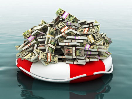life preserver: Safe money concept ,Large pile of money floating on a life preserver.